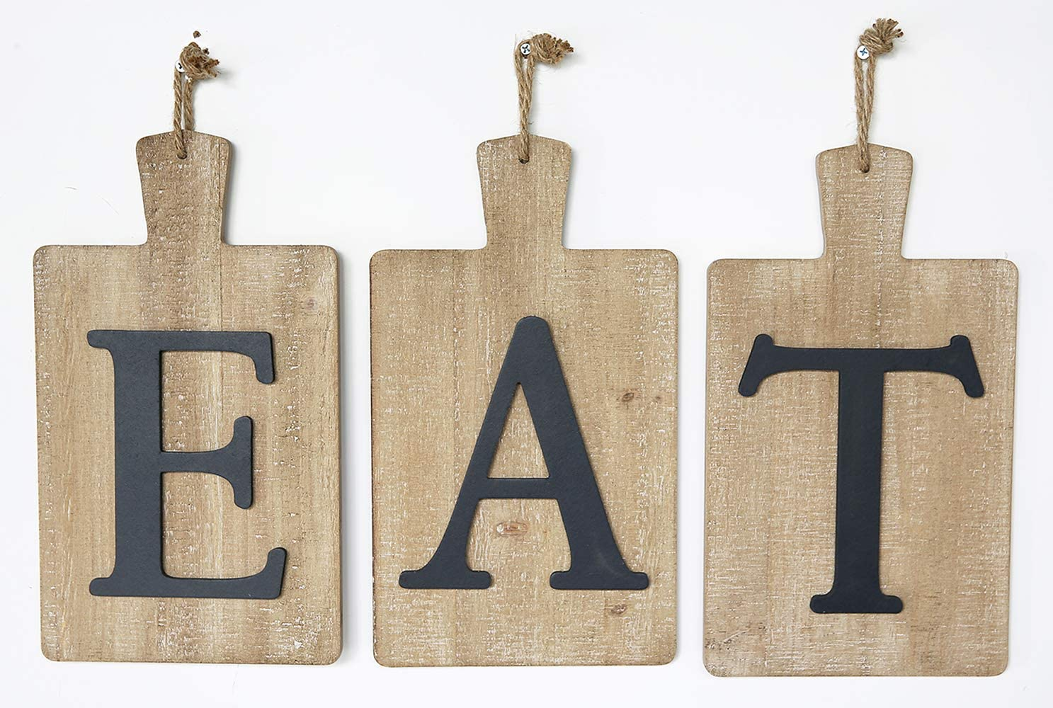 Karisky Eat Letter Signs 3-Pack 13 x 8 inches Rustic Wood Decorative Cutting Board Wall Hanging Art for Kitchen, Dining Room, Home Farmhouse Decor Brown