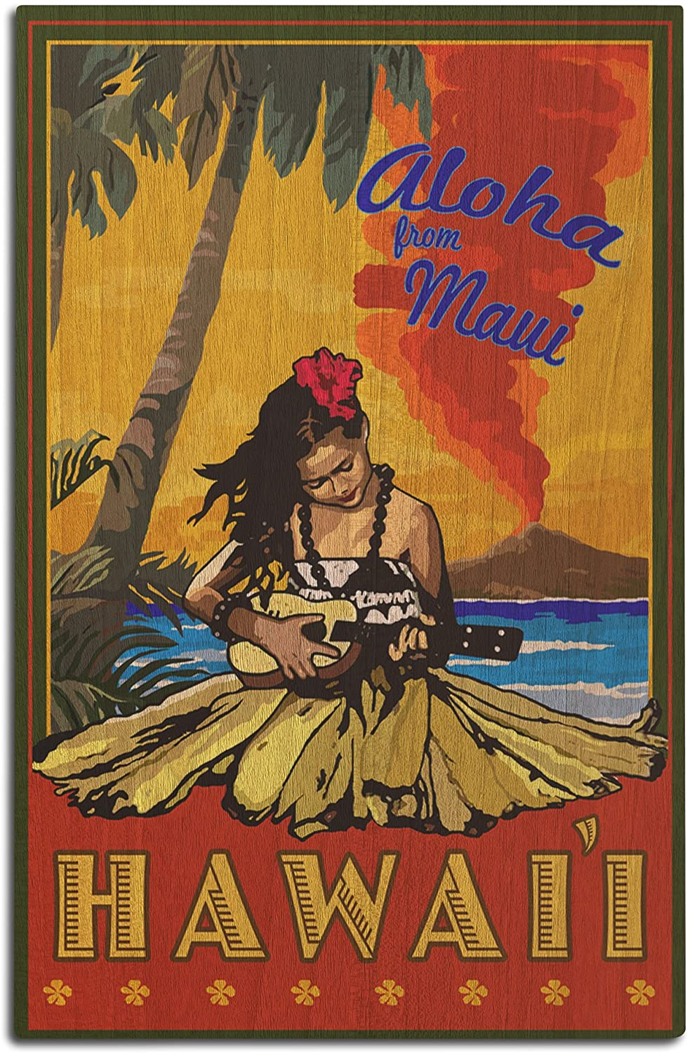 Lantern Press Maui, Hawaii - Hula Girl and Ukulele (12x18 Wood Wall Sign, Wall Decor Ready to Hang)