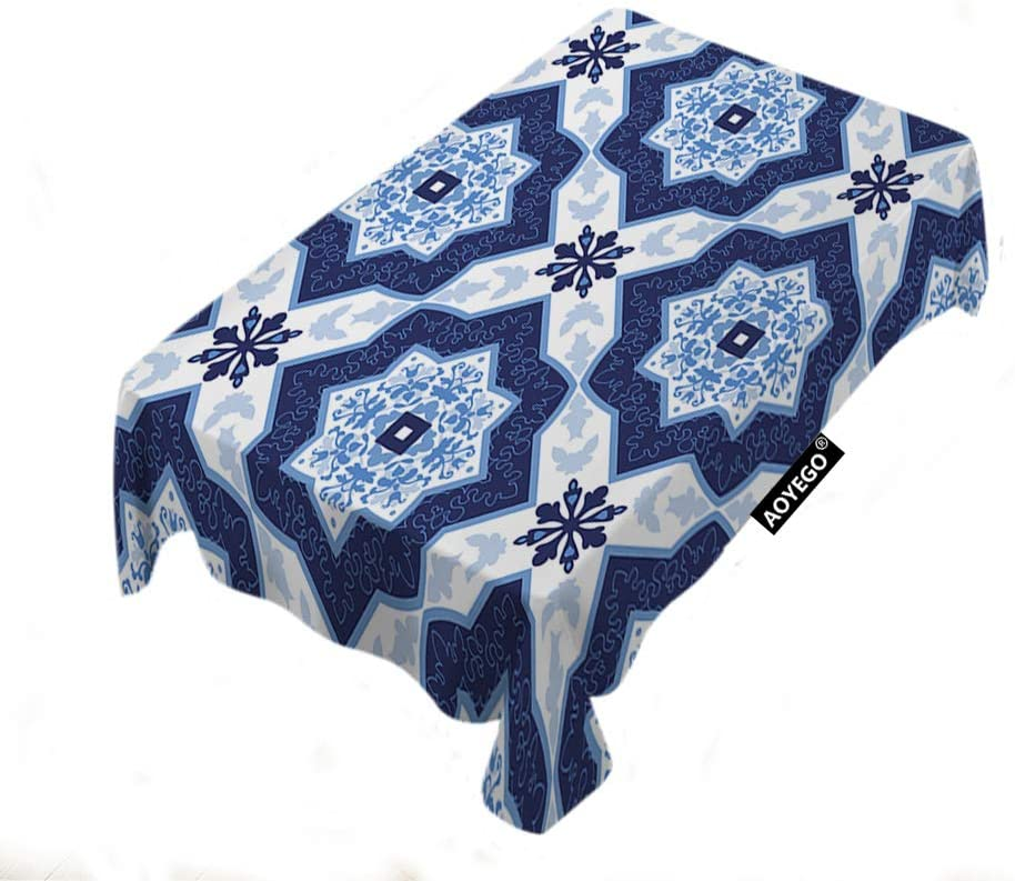 AOYEGO Snowflake Table Cloths Rectangle Floral Square Geometric Dot Luxury Grid Mesh Plaid Chic Tartan Tablecloths Decoration 52x70 Inch Polyester for Outdoor Indoor Home Party Picnic Blue