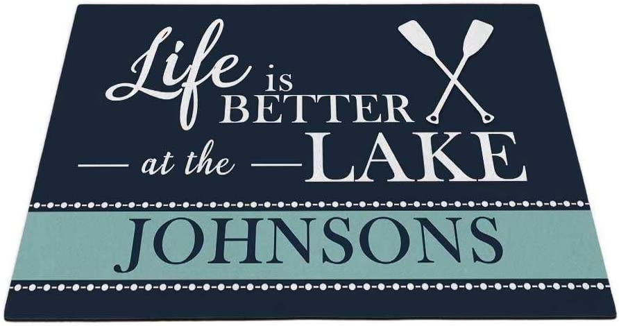 KafePross Personalized Your Family Name Doormat Life is Better at The Lake Home Spring Summer Decor Mat 35.4 x 23.6 Inch