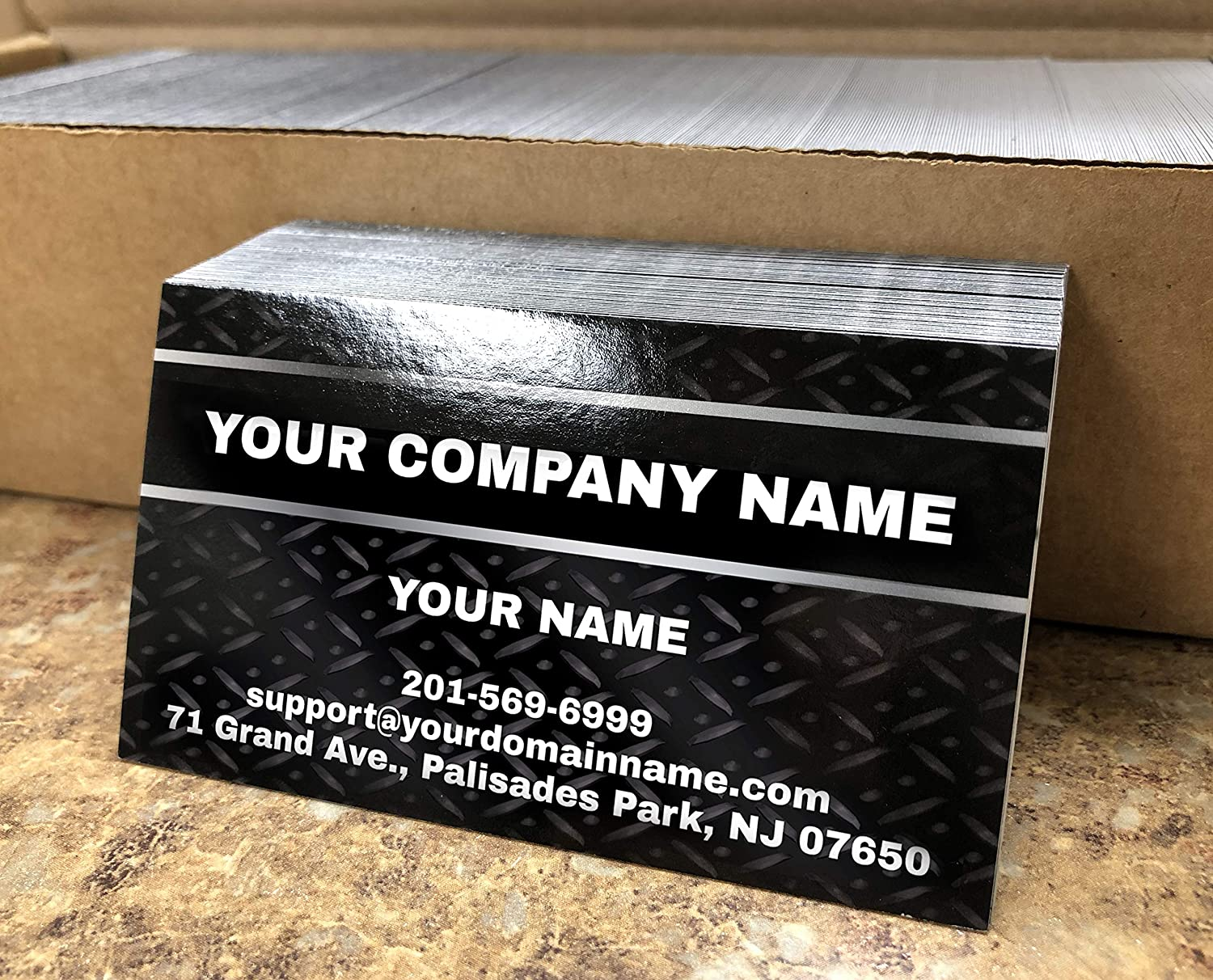 Custom Premium Business Cards 500 pcs Full color - Black Metal Panel, 16pt Cover Stock (129 lbs. 350gsm-Thick paper), UV coating-Front, Matte finishing-Back, Made in The USA