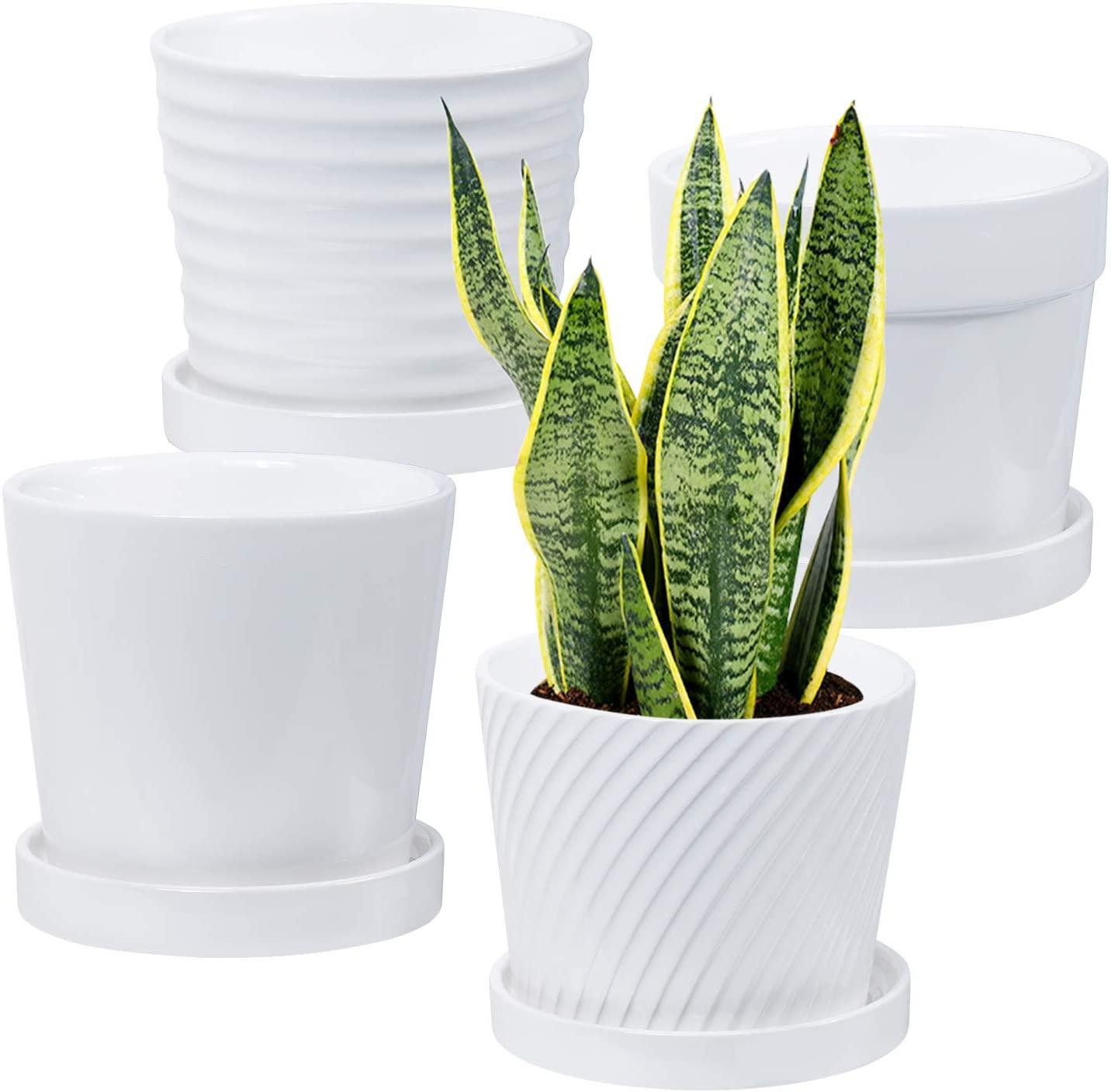 Baarrtt Plant Pots, 4Pcs Ceramic Pots Flower Planter with Connected Saucer for Plants Indoor 5.5 Inch House Plant Pot, White