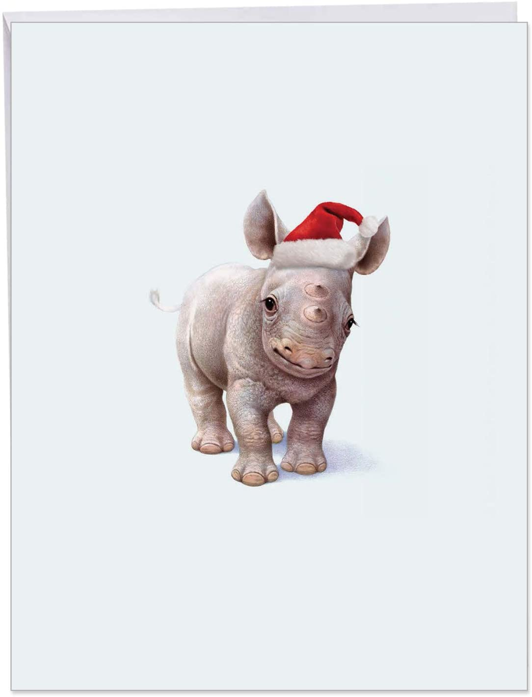 Big 'Christmas Zoo Babies' Merry Christmas Greeting Card - Featuring a Sweet and Adorable Baby Rhino Wearing a Christmas Hat With Envelope 8.5 x 11 Inch - Happy Holidays! J6726IXSG