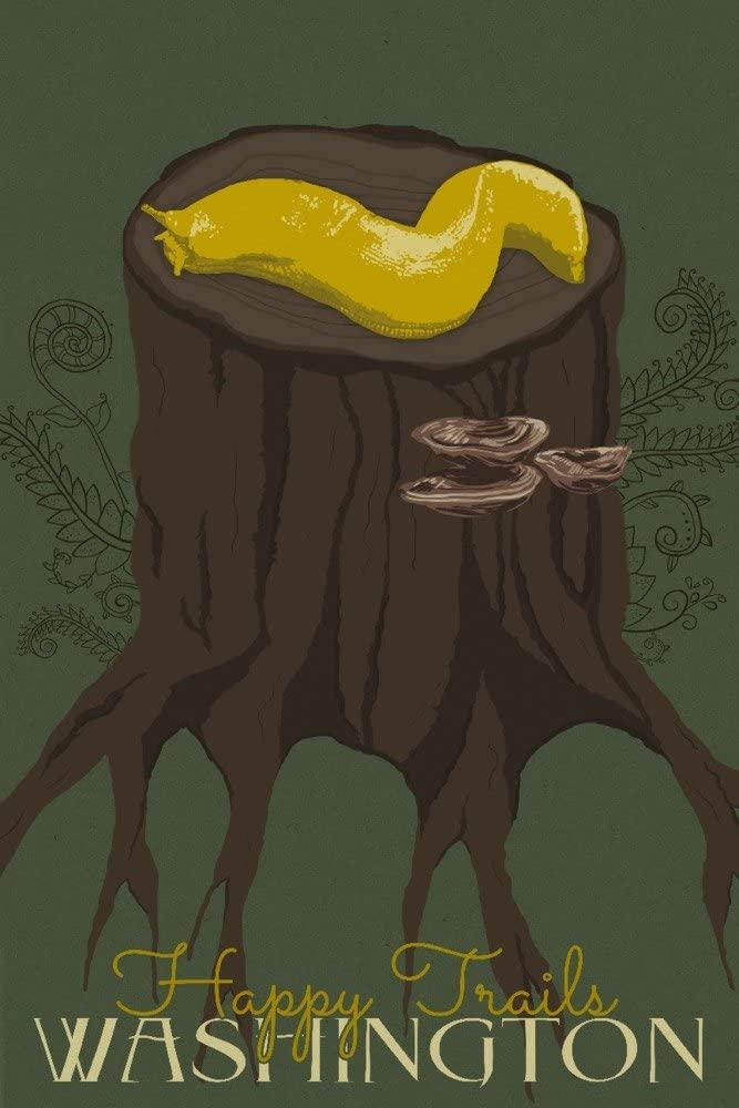 Washington - Happy Trails - Banana Slug (12x18 Art Print, Wall Decor Travel Poster)
