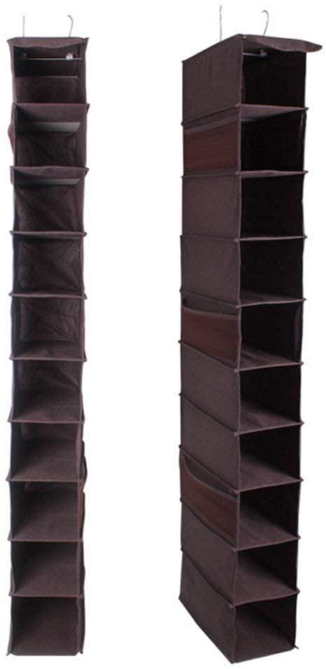 Lanscoe Clothes Storage Box 10 Hanging Shelves for Sweater Handbag Organizer Coffee