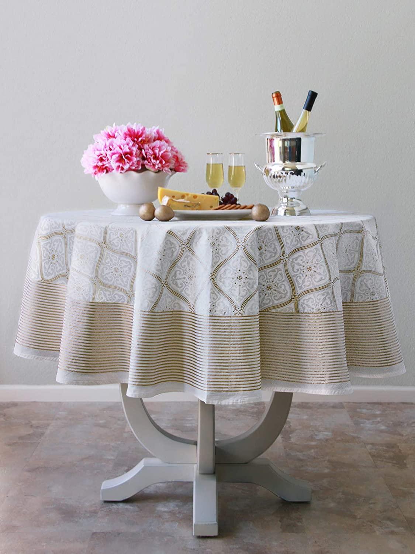 Saffron Marigold Vanilla Glace Tablecloth | 90 Round | 100% Cotton Voile | White Gold Lattice Jacobean Snowflake Like Print