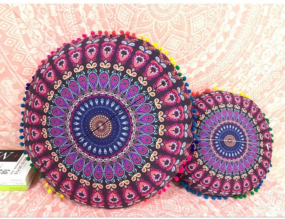 QCWN Mandala Pillow Cover- Hippie Mandala Floor Pillow Cover, Cushion Cover, Pouf Cover Round Bohemian Yoga Decor Floor Cushion Case.Multi 23