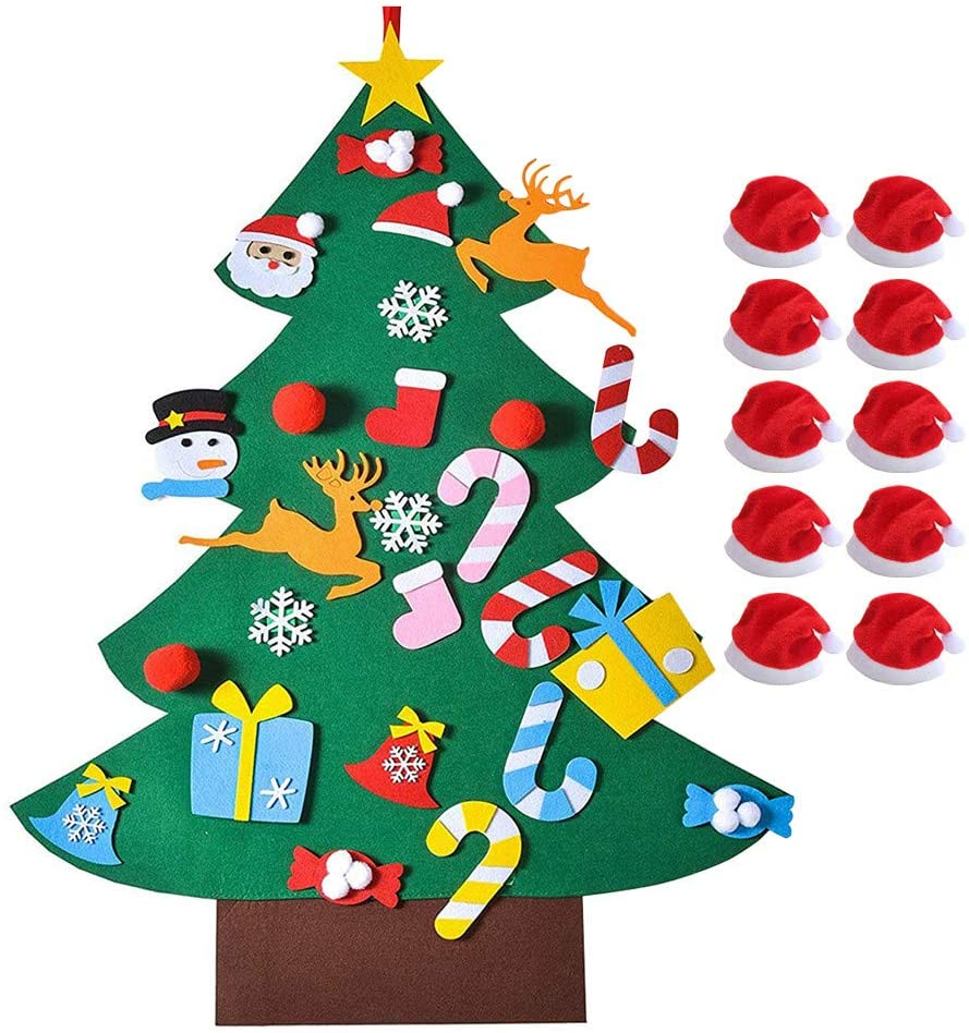 DIY Felt Christmas Tree Set, 3.3ft Christmas Tree with Detachable Ornaments Wall Decorations, Xmas Wall Hanging Stickers for Kids Gifts & Home Door Outdoor Ornaments, with 10pcs Christmas Hat