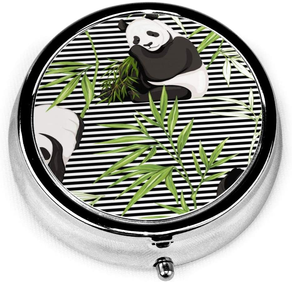 Daily Pill Organizer Panda Bamboo Stripe Round Medicine Box Case Compact 3 Compartment Vitamins Tablet Holder Container Metal Portable for Daily Needs Travel Purse Pocket