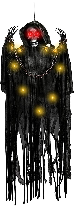 """Halloween 43"""" Hanging Grim Reapers, Animated Halloween Hanging Grim Reaper, Halloween Skeleton Grim Reaper for Haunted House Prop Décor, Halloween Outdoor Indoor Decor"""