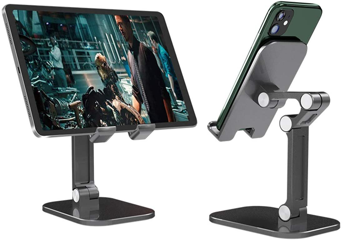 Cell Phone Stand, Tablet Holder,APUWiiO Upgraded Height Angle Adjustable Aluminum Phone Holder Stand for Desk,Compatible with iPhone,All Mobile Phones,Samsung,Pixel,iPad,Tablet, Black(4-12.9in)