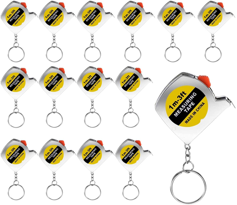 Trounistro 30 Pieces Mini Tape Measure Keychains Tape Measure Keychain Retractable Measuring Tape, 1 m/ 3 ft