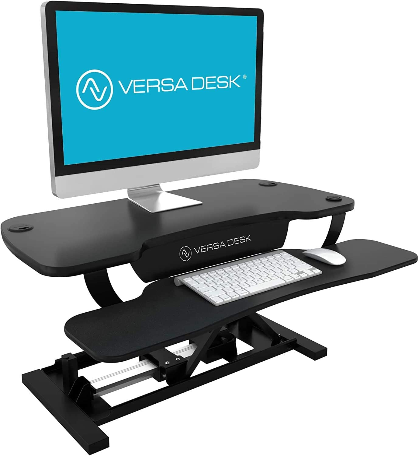 VersaDesk USA Made | Power Pro Touch Button Electric Height-Adjustable Desk Riser | Standing Desk Converter | Sit to Stand Desktop with Keyboard + Mouse Tray (All Black, 40