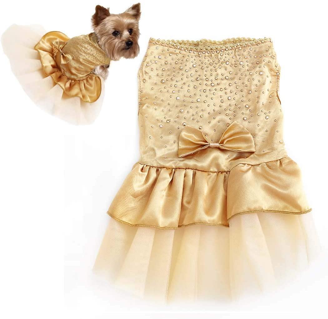 Petea Dog Dress Gold Tutu Gauze Skirt Cute Puppy Bowknot Princess Dress Wedding Party Pet Apparel for Dogs and Cats
