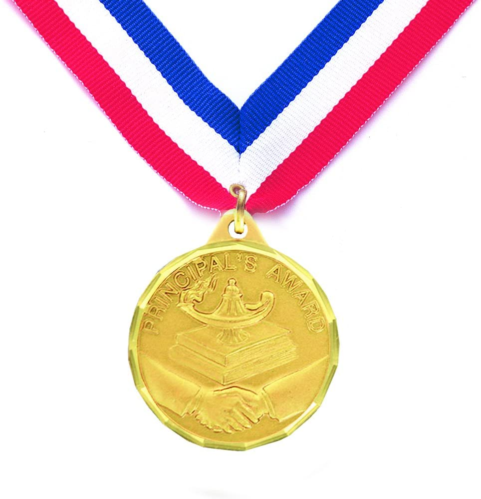 1-1/4 Inch Principal's Award Medal comes with Neck Ribbon - Pack of 10