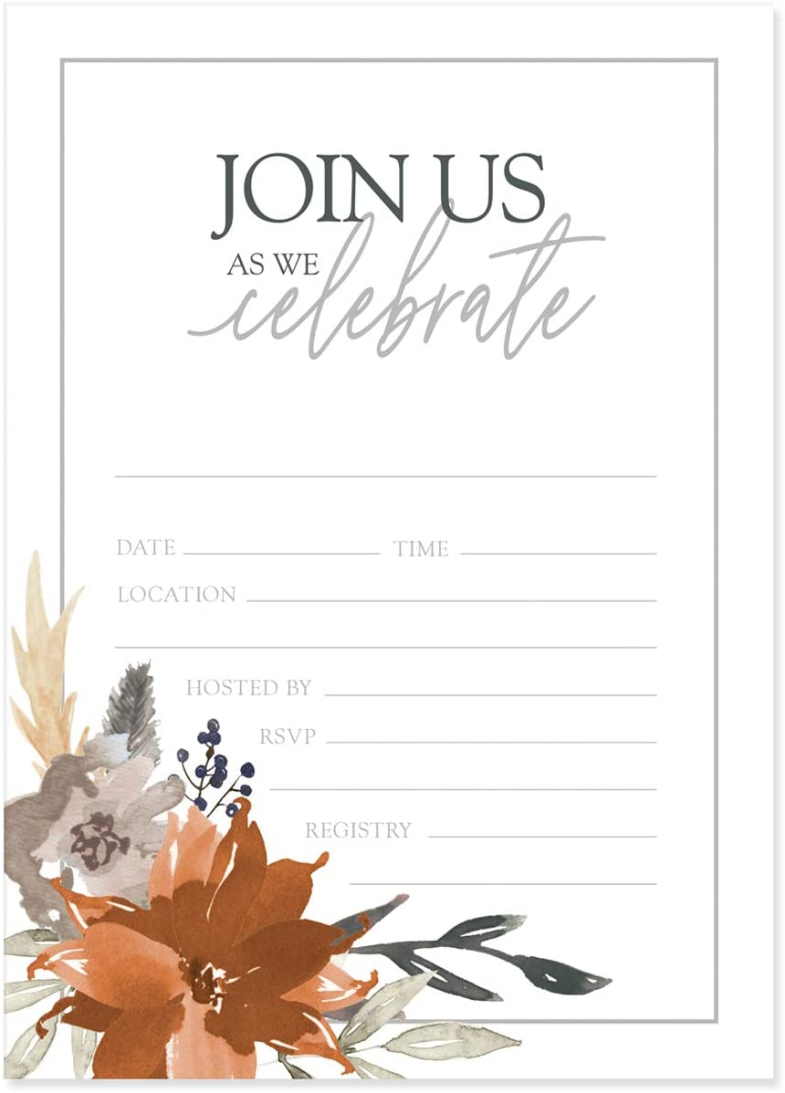 Indie Autumn Fill in Invitations / 25 Cards with White Envelopes/Boho Gray and Orange Floral Invites