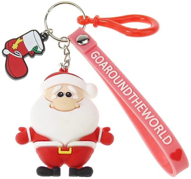 NUOBESTY Christmas Keychian Santa Claus Shape Key Ring Christmas Tree Hanging Ornament Christmas Party Favor Gift