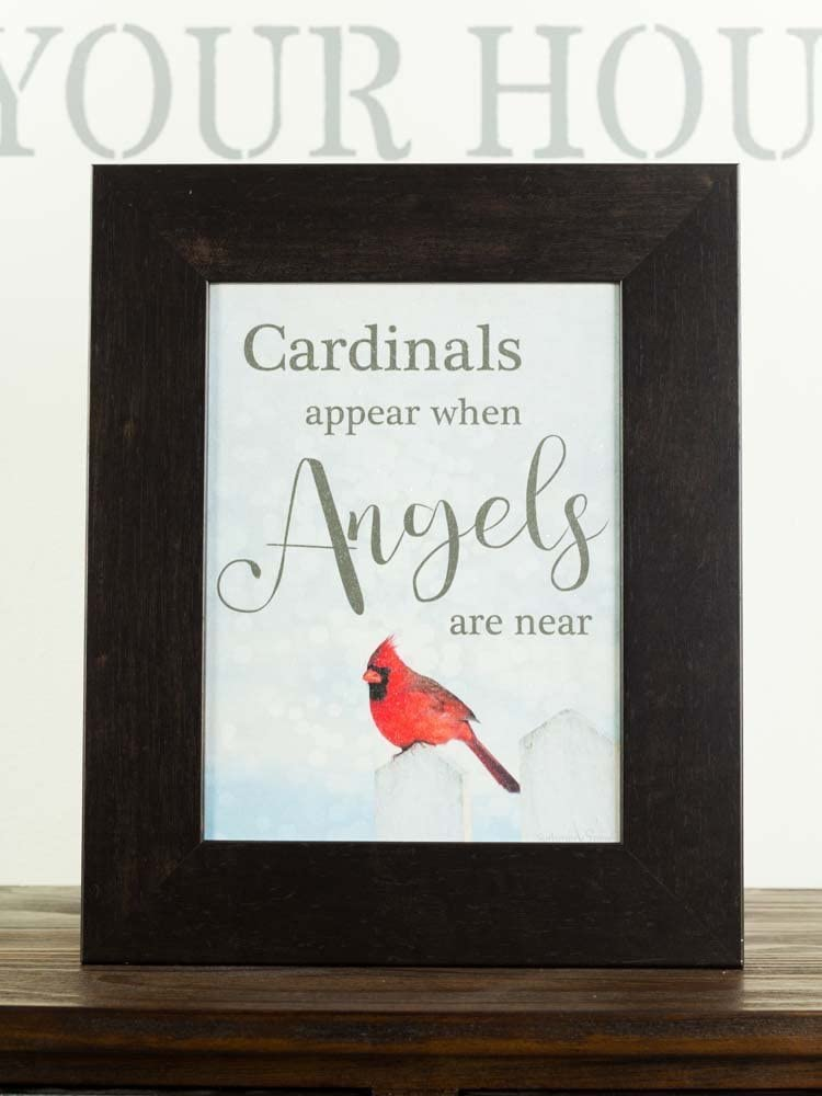 Summer Snow Cardinals Appear When Angels are Near Sympathy Red Cardinal Religious Framed Art Decor 13x16 (Espresso)