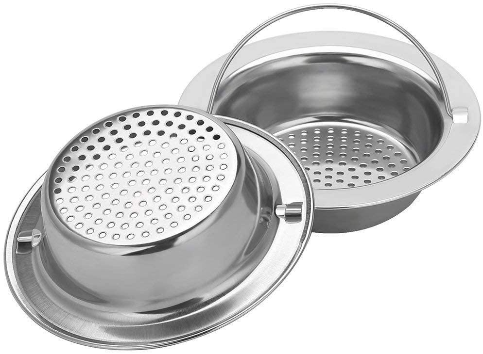2PCS Upgrade Stainless-Steel Kitchen Sink Strainer (Hand-Held), Premium Drain Filter Strainer, Large Wide Rim 4.33