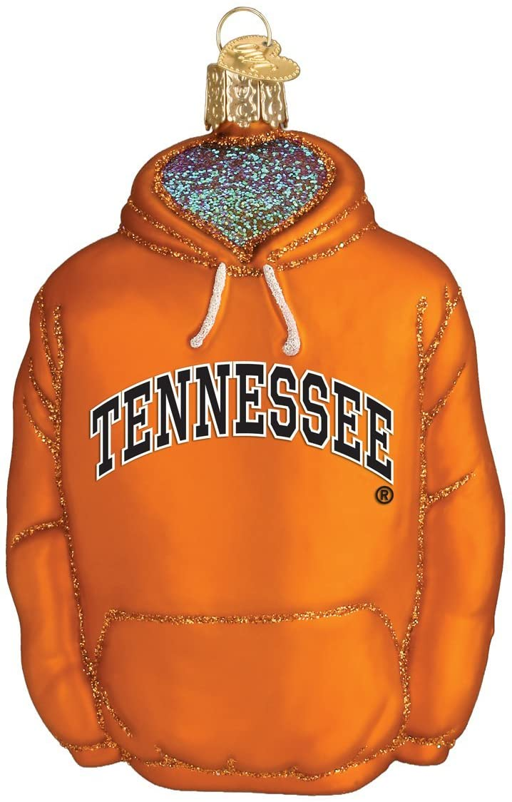 Old World Christmas Glass Blown Ornament with S-Hook and Gift Box, College Hoodie Collection (Tennessee)