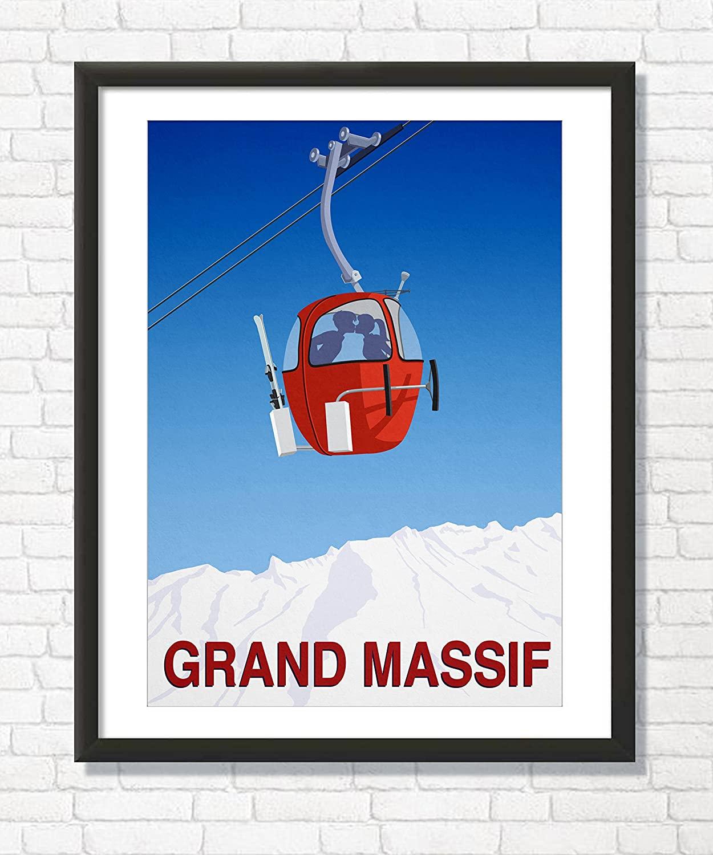Steve Ash illustration Grand Massif Ski Area Art Print, Wall Decor Ski Poster (29.7cm x 42cm)