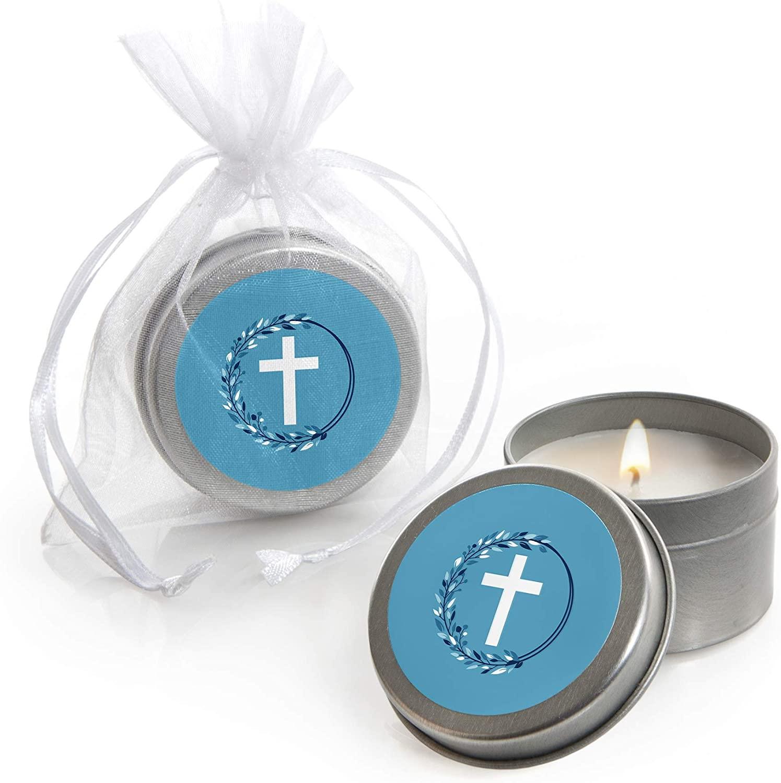 Blue Elegant Cross - Candle Tin Boy Religious Party Favors - Set of 12