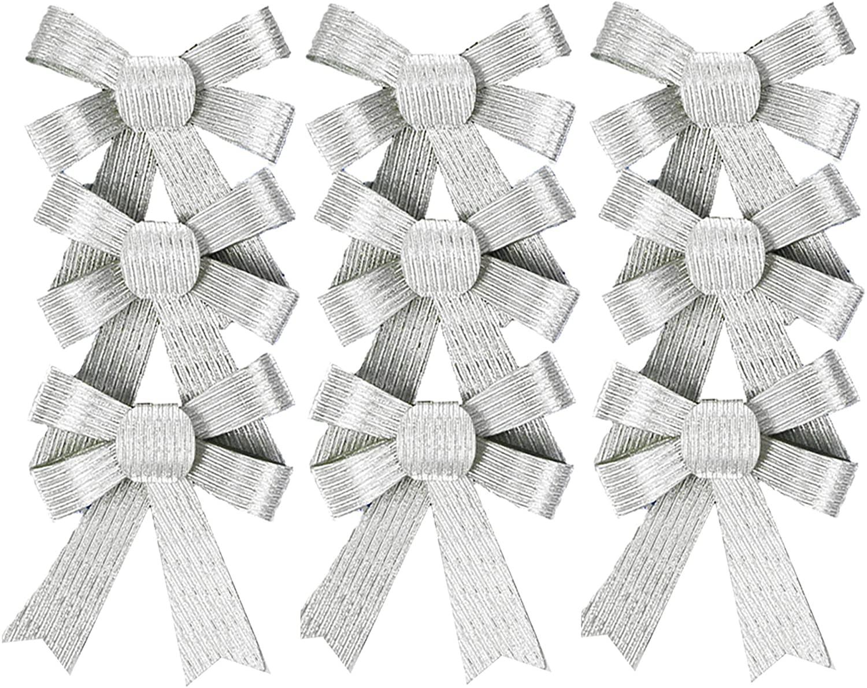 Set of 9 Black Duck Brand Silver Metallic Christmas Bows 3.75