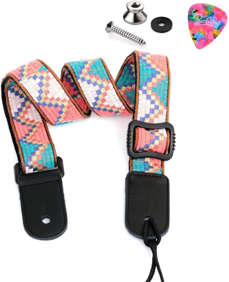 BestSounds Ukulele Strap Soft Cotton & Genuine Leather - Hawaiian Vintage Jacquard Woven Uke Shoulder Strap (Pink/Blue LT002)