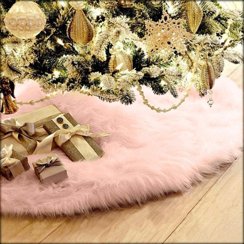 VECDUO White Faux Fur Fluffy Plush Christmas Tree Skirt, Christmas Home Decorations Party Holiday Ornaments New Year Party Supply (75cm, Pink)