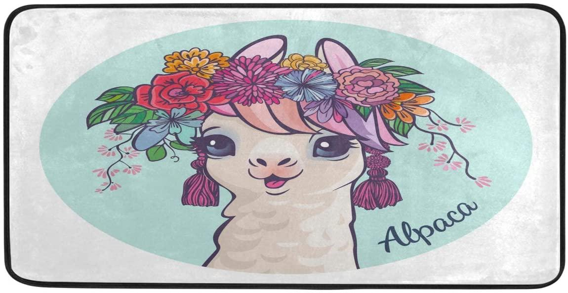 Llama Cartoon Alpaca Kitchen Mat Non-Slip Rugs Bath Doormat Runner 39