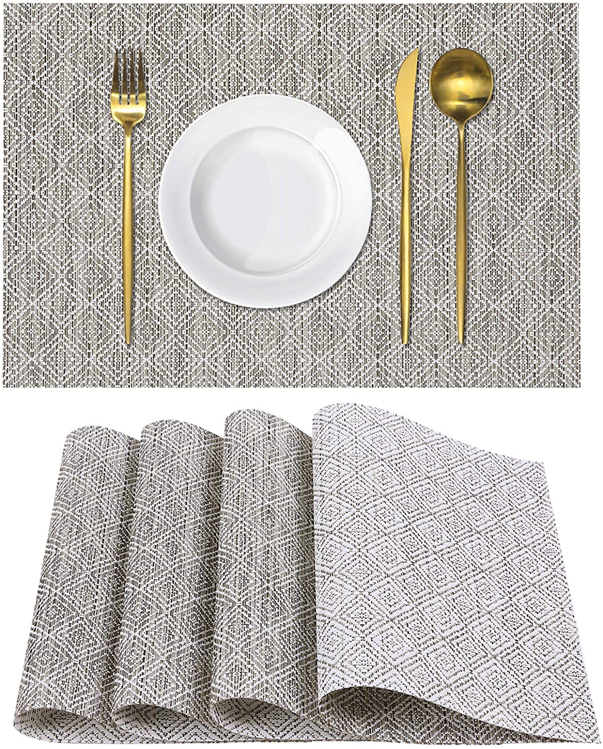 Homaxy Placemats for Dining Table Set of 4 - Washable Vinyl Woven Insulation Heat Resistant Kitchen Table Mats, 18 x 12 Inches, Cool Grey