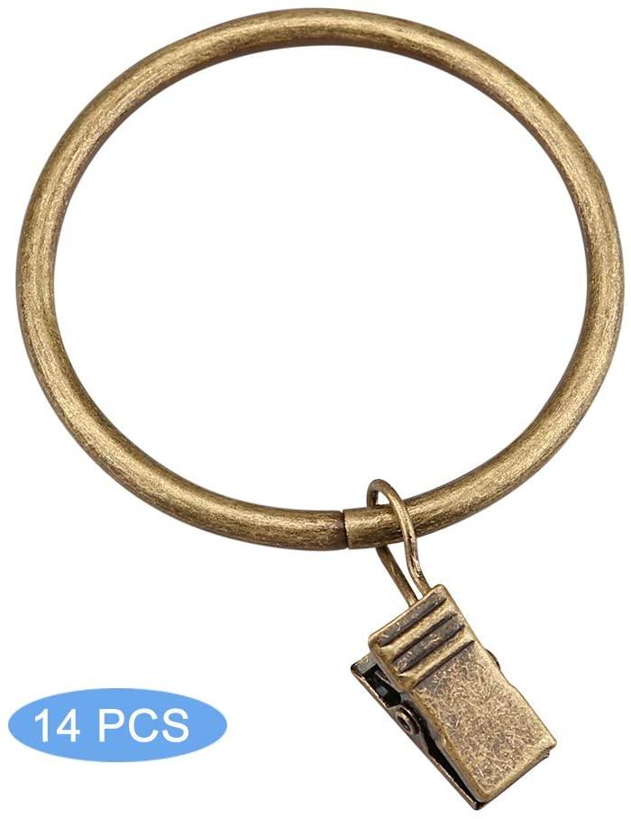 YOSUN Curtain Rings with Clips-Set of 14 Decorative Drapery Rings.Interior Diameter 1.96