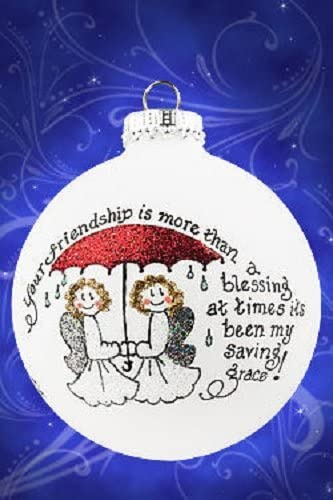 Home and Holiday Shops Your Friendship is More Than a Blessing Made in The USA Glass Christmas Ornament
