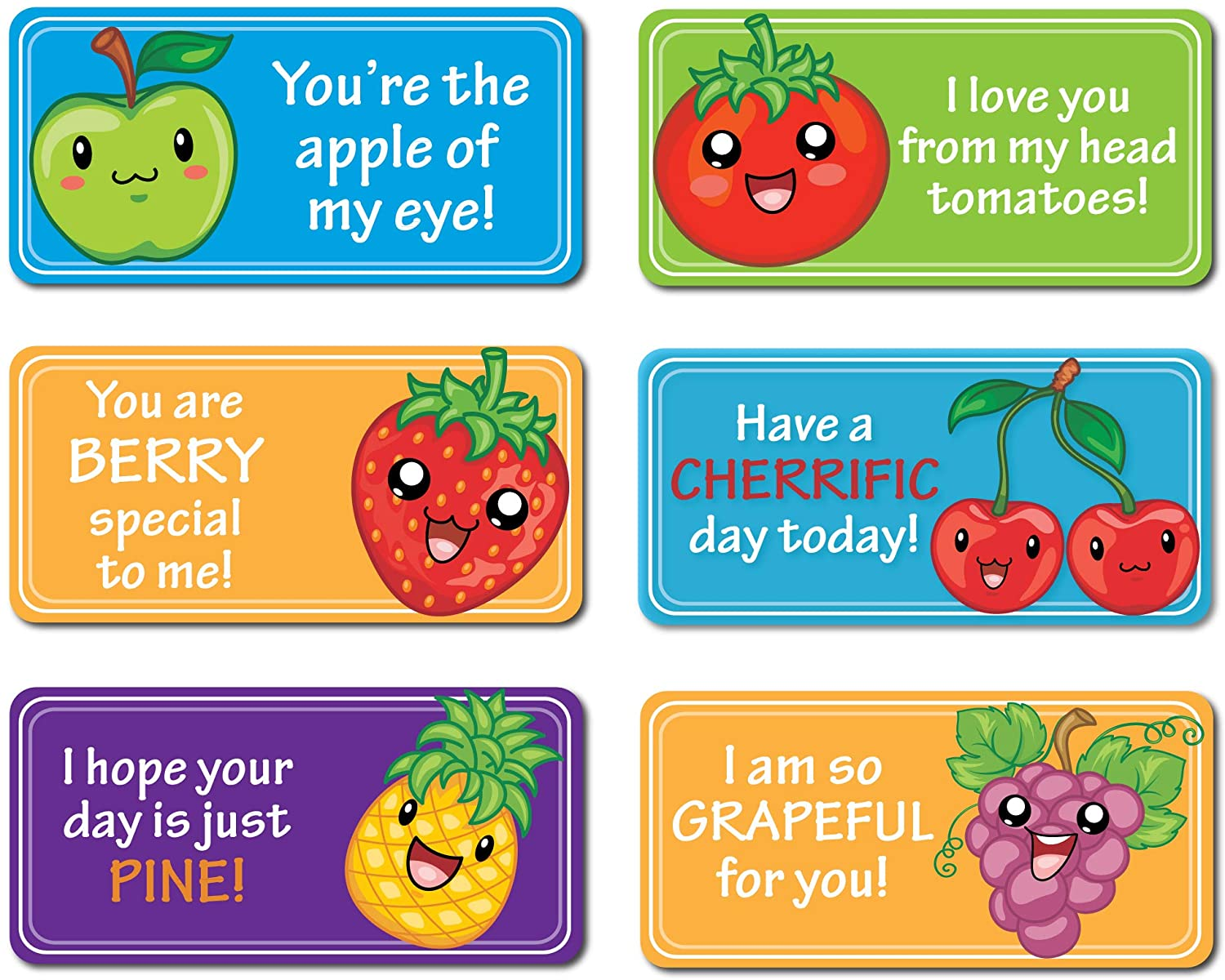 Lovable Labels Motivational, Inspirational, Affirmation, Lunch Box Message Stickers. These Lunchbox Notes for Kids are Positive Kindness Stickers Providing Support and Love. (Tutti Frutti)