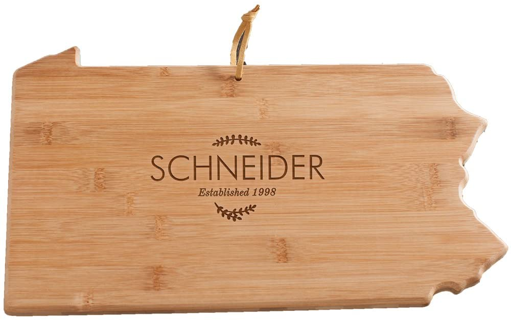 Personalized Family Name Pennsylvania State Cutting Board, Bamboo, 14.25 x 11 x 5/8