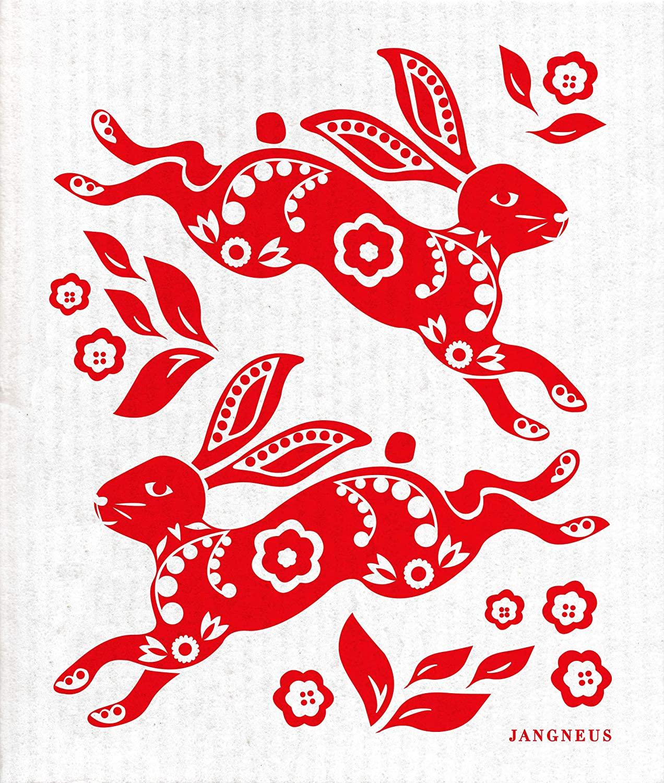 Trendy Tripper JANGNEUS Swedish Dishcloth/Sponge Cloth - Rabbit Hare Design (True Red)