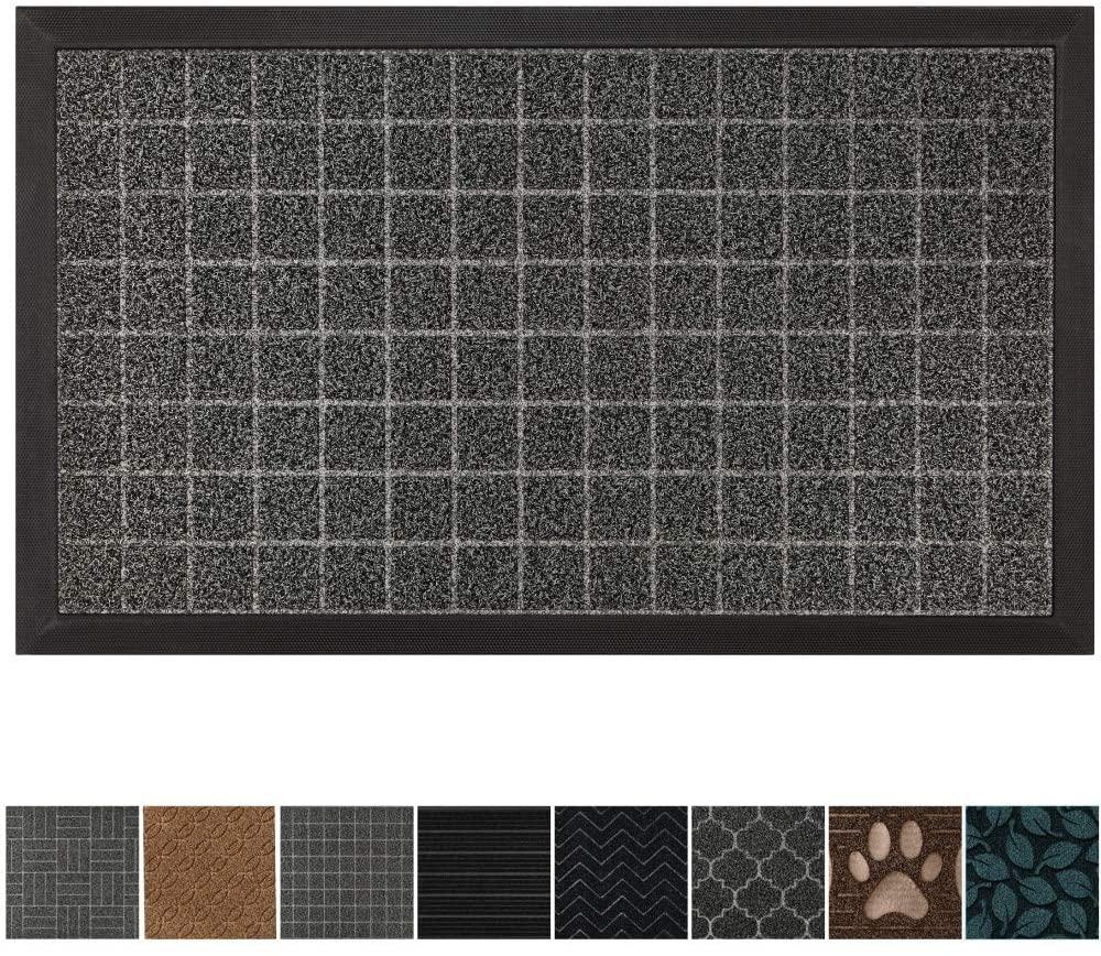 GRIP MASTER Durable, Tough All-Natural Rubber Doormats, 29x17 Size, Waterproof Boot Scraper Mats, Heavy Duty Indoor Outdoor Door Mat for Winter Snow, Low-Profile, Easy Clean, Charcoal Big Squares