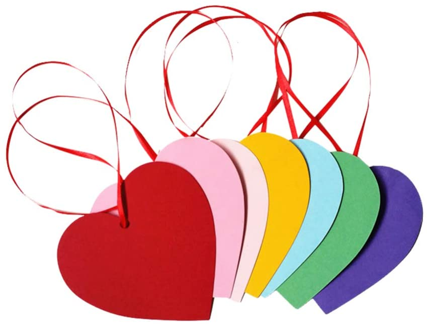 NUOBESTY 50pcs Heart Valentines Day Gift Tag Favor Tags Blank Paper Tags Treats Tags Hang Label Tags Place Cards for Christmas Birthday Party Festival (Random Color)