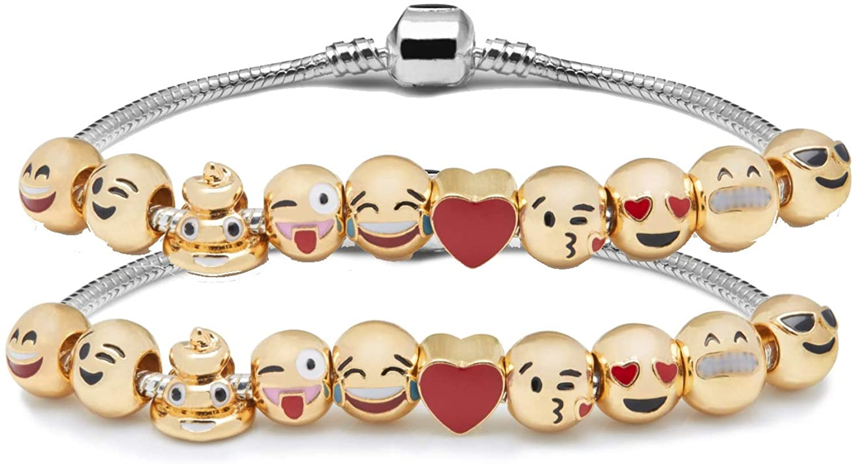 Emojem Charm Bracelet   18K Gold Plated   Emoji Jewelry   Womens Bracelet Gift