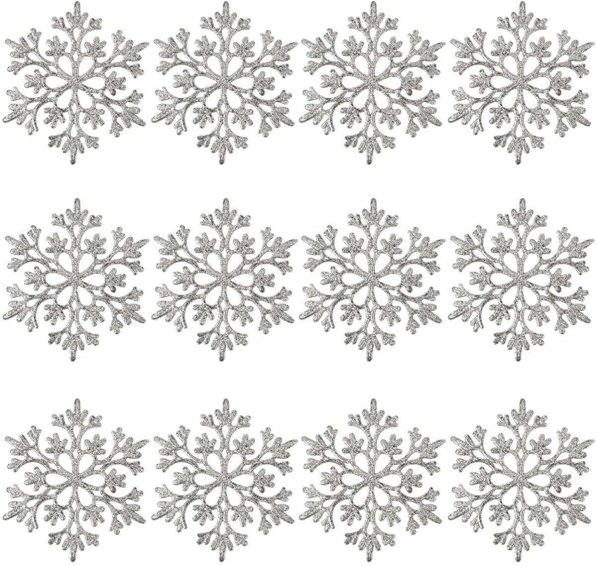 BESTOYARD 12pcs Christmas Glitter Snowflake Ornament 10CM Plastic Snowflake Hanging Pendant Xmas Tree Decorations for Winter Holiday Party Silver
