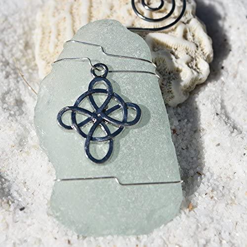 DejaVu Designs Custom Handmade Genuine Sea Foam Sea Glass Ornament with a Celtic Knot Cross Charm