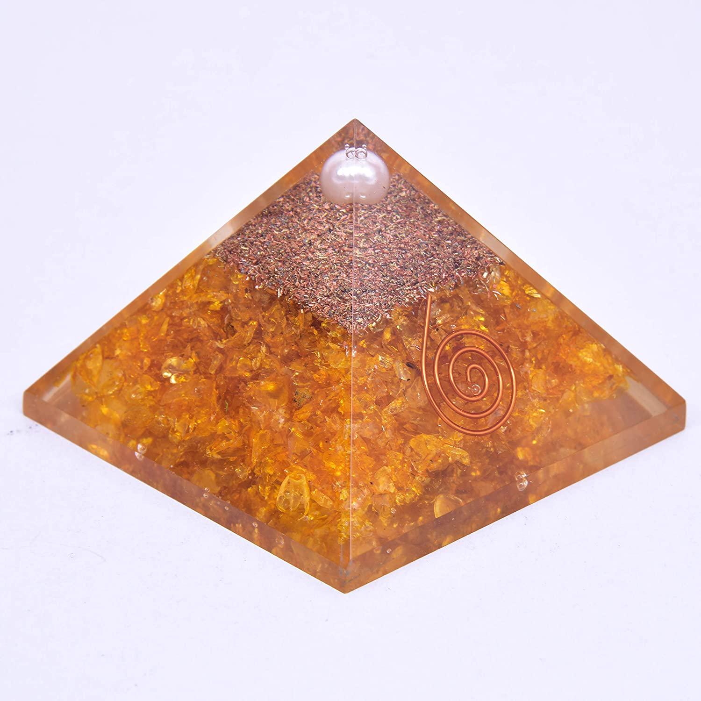 Orgone Pyramid Citrine Pyramid Energy Healing Crystals EMF Protection Pyramid Yoga Meditation Chakra Crystals