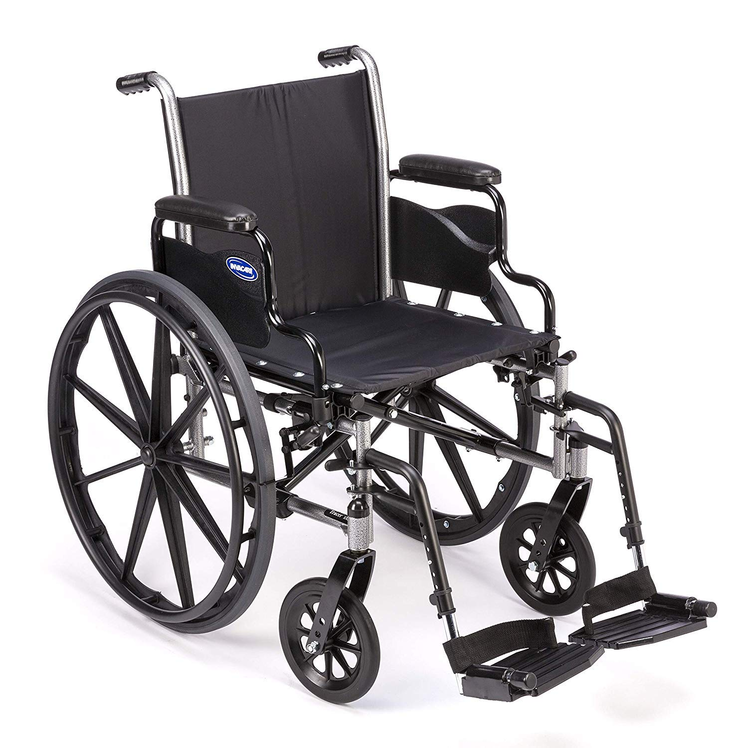 Invacare Tracer SX5 Wheelchair, with Desk Length Arms and T93HAP Hemi Footrests with Heel Loops, 22