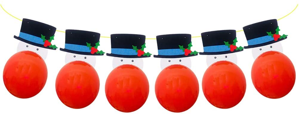 CHRISTMAS Snowman Banner Decoration Hanging Garland Party Supplies (6pcs 12 Inches Balloons)