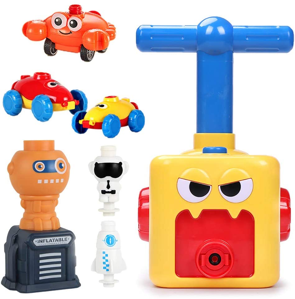 NEXTAKE Balloon Powered Racer and Launcher Set Balloon Power Car Upgraded Launch Tower with Rocket and Spaceman Monster Balloon Car Kit with 12 Balloons for Kids (with Orange Launcher and Crab)