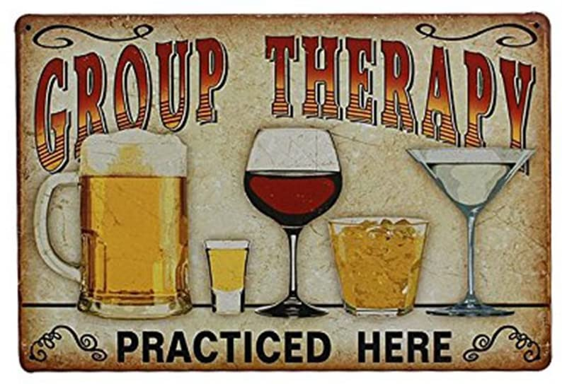 "LUOEM Vintage Metal Tin Wall Sign ""Group Therapy Practiced Here"" Wall Plaque Poster for Cafe Bar Pub Beer Store Home Decor"