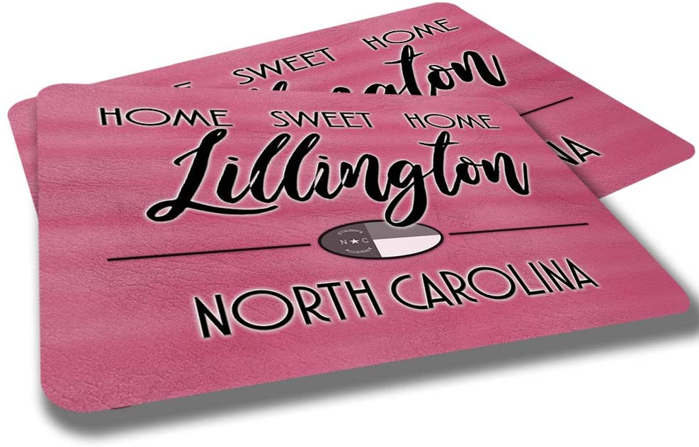 Lillington North Carolina Home Sweet Home Towns Cities Provinces Door Mat Red Souvenir Gift Design Rubber Grip Non Skid Backing Rug Indoor Entryway Door Rugs Mats Pack of 2