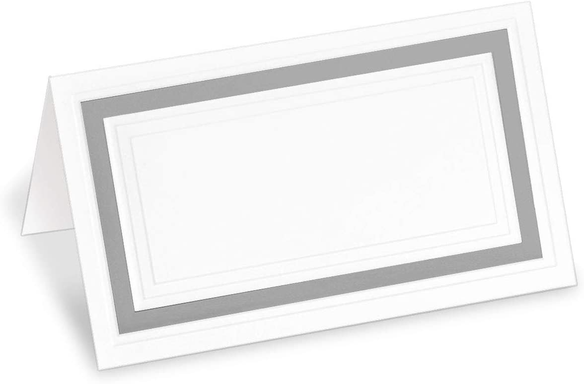 PaperDirect White 38lb Cover Stock Folded Place Cards with Silver Foil Border, Micro-Perforated, 2