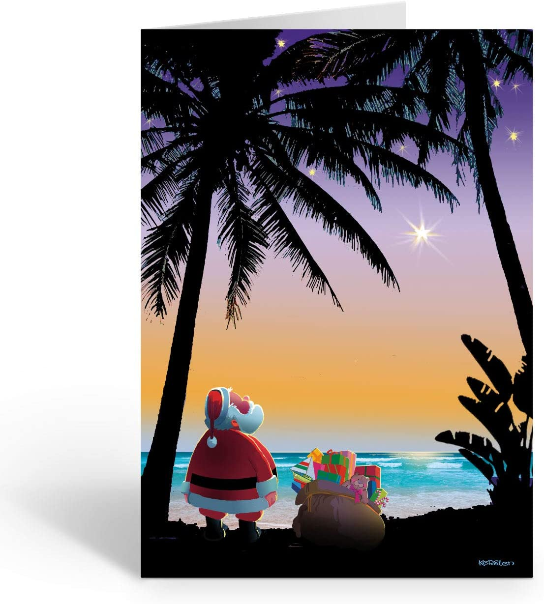 Personalized Tropical Stars Christmas Card - Beach and Tropical 24 Cards and Envelopes (24)