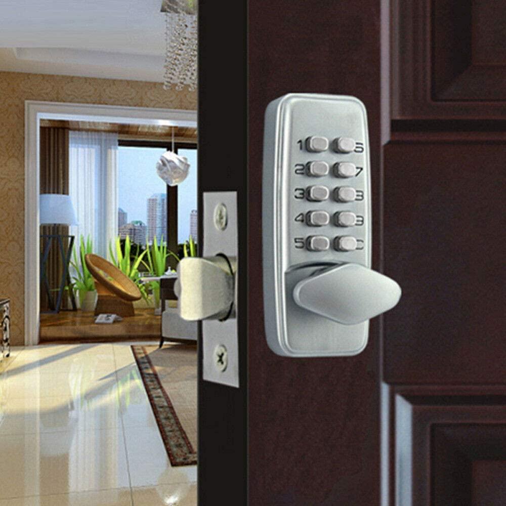 Keyless Entry Door Lock Mechanical Password Code Keypad Security Combination Kit No Keys Cards No Battery Power